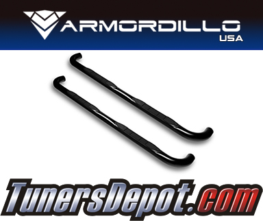Armordillo USA® 3&quto; ROUND STYLE Side Step Bars (Black) - 88-98 GMC Pickup C2500 Regular Cab 2WD