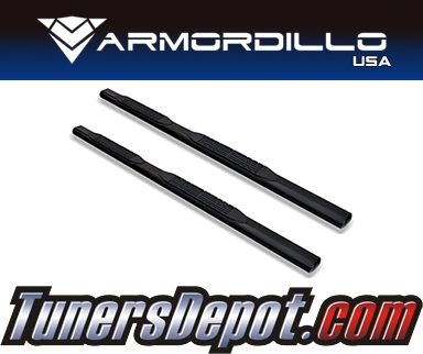 Armordillo USA® 4&quto; OVAL STYLE Side Step Bars (Black) - 07-18 Chevy Silverado 1500 Extended Cab Non-Diesel