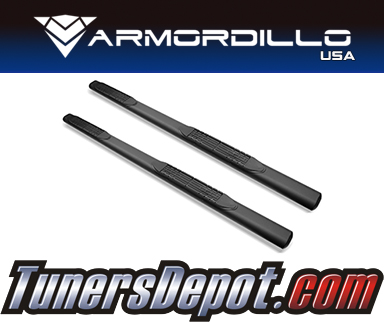 Armordillo USA® 4&quto; OVAL STYLE Side Step Bars (Matte Black) - 17-19 Ford F-450 Super Duty Super Cab
