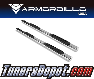 Armordillo USA® 4&quto; OVAL STYLE Side Step Bars (Polished) - 08-18 Chevy Silverado 2500/3500 Crew Cab Non-Diesel