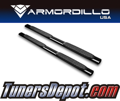 Armordillo USA® 5&quto; OVAL STYLE Side Step Bars (Black) - 02-08 Dodge Ram Pickup 1500 Quad Cab