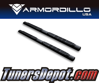 Armordillo USA® 5&quto; OVAL STYLE Side Step Bars (Matte Black) - 99-16 Ford F-450 Super Duty Super Crew