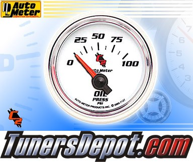 Autometer® 2-1/16&quto; C2 Gauge - Oil Pressure (Short Sweep Electric) : 100 PSI