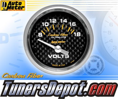 Autometer® 2-1/16&quto; CARBON FIBER Gauge - Voltmeter (Short Sweep Electric) : 8-18 V