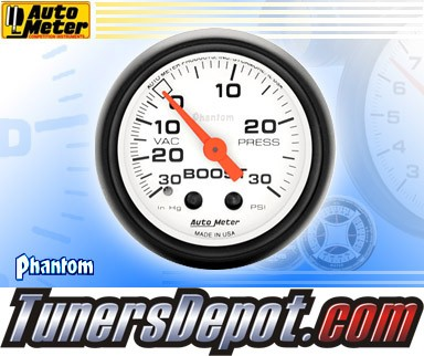 Autometer® 2-1/16&quto; PHANTOM Gauge - Boost / Vacuum (Mechanical) : 30 in HG / 30 PSI