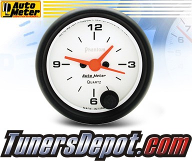 Autometer® 2-1/16&quto; PHANTOM Gauge - Clock (Electric) : Hour / Minute / Second