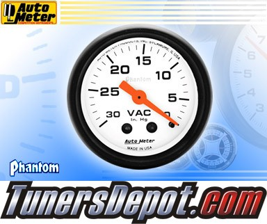 Autometer® 2-1/16&quto; PHANTOM Gauge - Vacuum (Mechanical) : 30 in. HG