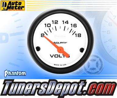 Autometer® 2-1/16&quto; PHANTOM Gauge - Voltmeter (Short Sweep Electric) : 8-18 V
