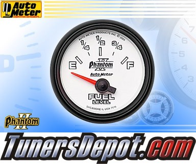 Autometer® 2-1/16&quto; PHANTOM II Gauge - Fuel Level (Short Sweep Electric) : 240 Ohm - 33 Ohm