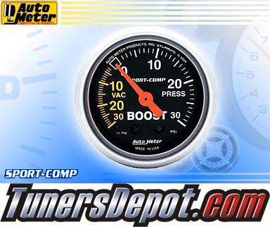 Autometer® 2-1/16&quto; SPORT-COMP Gauge - Boost / Vacuum (Mechanical) : 30 in HG / 30 PSI