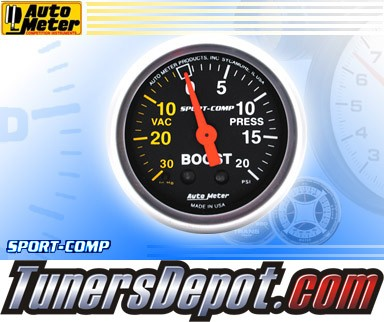 Autometer® 2-1/16&quto; SPORT-COMP Gauge - Boost / Vacuum (Mechanical) : 30 in. HG / 20 PSI