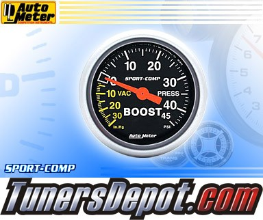 Autometer® 2-1/16&quto; SPORT-COMP Gauge - Boost / Vacuum (Mechanical) : 30 in. HG / 45 PSI