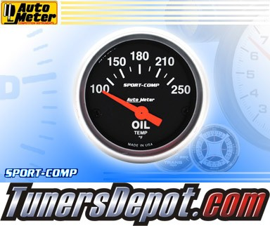 Autometer® 2-1/16&quto; SPORT-COMP Gauge - Oil Temp (Short Sweep Electric) : 100-250 F