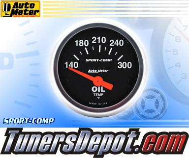 Autometer® 2-1/16&quto; SPORT-COMP Gauge - Oil Temp (Short Sweep Electric) : 140-300 F