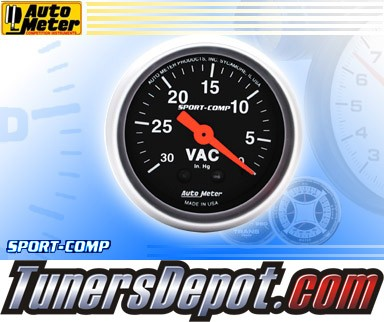 Autometer® 2-1/16&quto; SPORT-COMP Gauge - Vacuum (Mechanical) : 30 in. HG