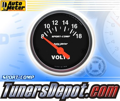 Autometer® 2-1/16&quto; SPORT-COMP Gauge - Voltmeter (Short Sweep Electric) : 8-18 V