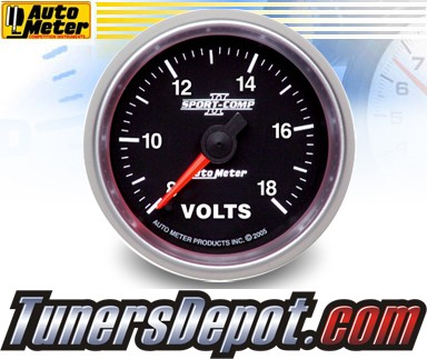 Autometer® 2-1/16&quto; SPORT-COMP II Gauge - Voltmeter (Electric) : 8-18 Volts