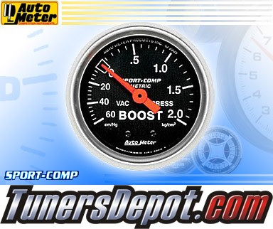 Autometer® 2-1/16&quto; SPORT-COMP (Metric) Gauge - Boost - Vacuum (Mechanical) : 60 CM / HG - 2.0 KG / CM2