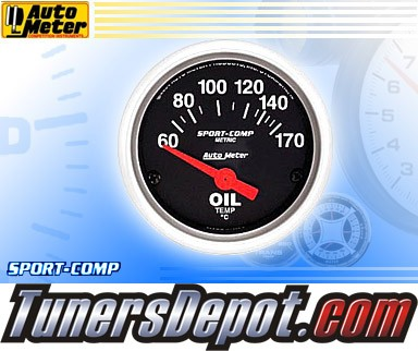 Autometer® 2-1/16&quto; SPORT-COMP (Metric) Gauge - Oil Temp (Short Sweep Electric) : 60-170 C