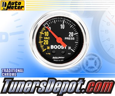 Autometer® 2-1/16&quto; TRADITIONAL CHROME Gauge - Boost / Vacuum (Mechanical) : 30 in HG / 30 PSI