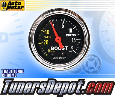 Autometer® 2-1/16&quto; TRADITIONAL CHROME Gauge - Boost / Vacuum (Mechanical) : 30 in. HG / 20 PSI