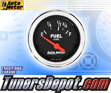 Autometer® 2-1/16&quto; TRADITIONAL CHROME Gauge - Fuel Level (Short Sweep Electric) : 16 Ohm-158 Ohm