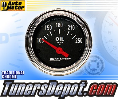 Autometer® 2-1/16&quto; TRADITIONAL CHROME Gauge - Oil Temp (Short Sweep Electric) : 100-250 F