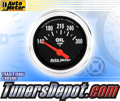 Autometer® 2-1/16&quto; TRADITIONAL CHROME Gauge - Oil Temp (Short Sweep Electric) : 140-300 F