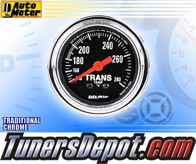Autometer® 2-1/16&quto; TRADITIONAL CHROME Gauge - Transmission Temp (Mechanical) : 140-280 F