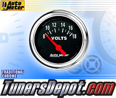 Autometer® 2-1/16&quto; TRADITIONAL CHROME Gauge - Voltmeter (Short Sweep Electric) : 8-18 V