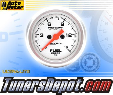 Autometer® 2-1/16&quto; ULTRA-LITE Gauge - Fuel Pressure (Electric) : 15 PSI