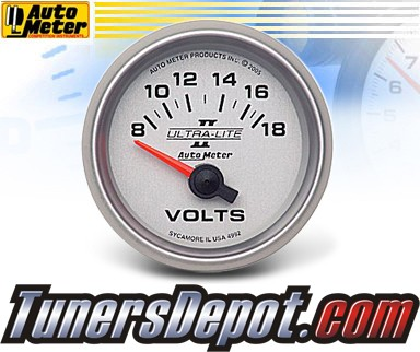 Autometer® 2-1/16&quto; ULTRA-LITE II Gauge - Voltmeter (Short Sweep Electric) : 8-18 V