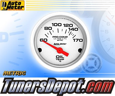 Autometer® 2-1/16&quto; ULTRA-LITE (Metric) Gauge - Oil Temp (Short Sweep Electric) : 60-170 C