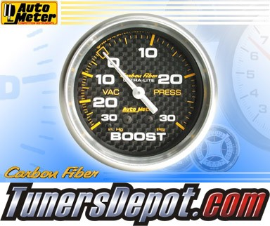 Autometer® 2-5/8&quto; CARBON FIBER Gauge - Boost / Vacuum (Mechanical) : 30 in HG / 30 PSI
