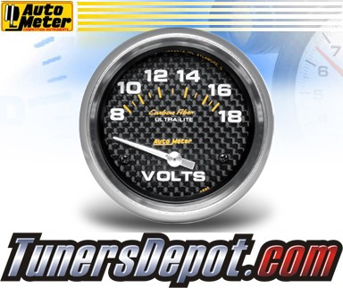Autometer® 2-5/8&quto; CARBON FIBER Gauge - Voltmeter (Short Sweep Electric) : 8-18 V