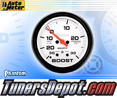 Autometer® 2-5/8&quto; PHANTOM Gauge - Boost / Vacuum (Electric) : 30 in. HG / 30 PSI