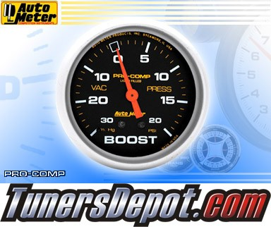 Autometer® 2-5/8&quto; PRO-COMP Gauge - Boost / Vacuum (Mechanical) : 30 in. HG / 20 PSI