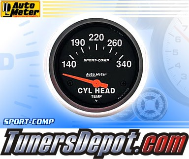 Autometer® 2-5/8&quto; SPORT COMP Gauge - Cylinder Head Temp (Short Sweep Electric) : 140-340 F