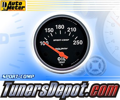 Autometer® 2-5/8&quto; SPORT COMP Gauge - Oil Temp (Short Sweep Electric) : 100-250 F