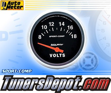 Autometer® 2-5/8&quto; SPORT COMP Gauge - Voltmeter (Short Sweep Electric) : 8-18 V