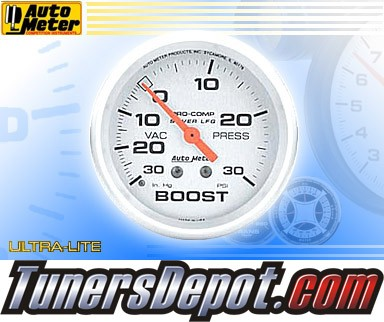 Autometer® 2-5/8&quto; ULTRA-LITE Gauge - Boost / Vacuum (Liquid Filled Mechanical) : 30 in HG / 30 PSI
