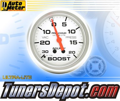 Autometer® 2-5/8&quto; ULTRA-LITE Gauge - Boost / Vacuum (Mechanical) : 30 in. HG / 20 PSI