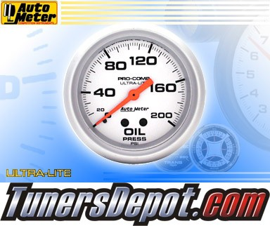 Autometer® 2-5/8&quto; ULTRA-LITE Gauge - Oil Pressure (Mechanical) : 200 PSI