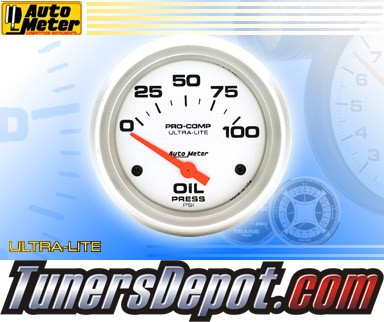 Autometer® 2-5/8&quto; ULTRA-LITE Gauge - Oil Pressure (Short Sweep Electric) : 100 PSI