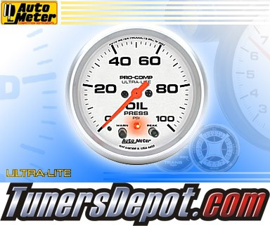 Autometer® 2-5/8&quto; ULTRA-LITE Gauge - Oil Pressure (w/ Peak & Warning) (Electric) : 100 PSI