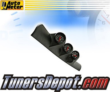 Autometer® Triple A-Pillar Pod + Boost, Pyrometer, and Transmission Temp Gauges - 98-02 Dodge Ram Pickup w/ Speaker
