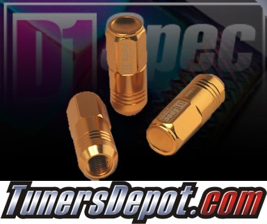 D1 Spec® 12x1.5 Forged Racing Lug Nuts - Gold - Universal (20 piece set)