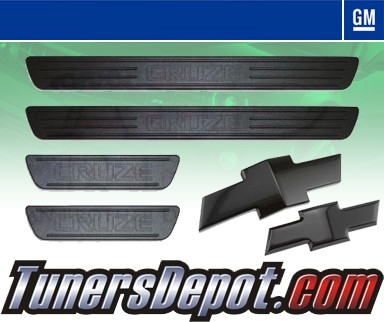 GM Official Licensed® Billet Door Sill AND Emblem 6 Piece Set - 11-12 Chevy Cruze (Black)