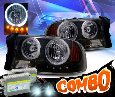 HID Xenon + KS® 1 pc Crystal CCFL Halo Headlights (Black) - 97-04 Dodge Dakota
