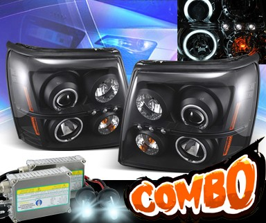 HID Xenon + KS® CCFL Halo LED Projector Headlights (Black) - 02-06 Cadillac Escalade (w/o Stock HID)